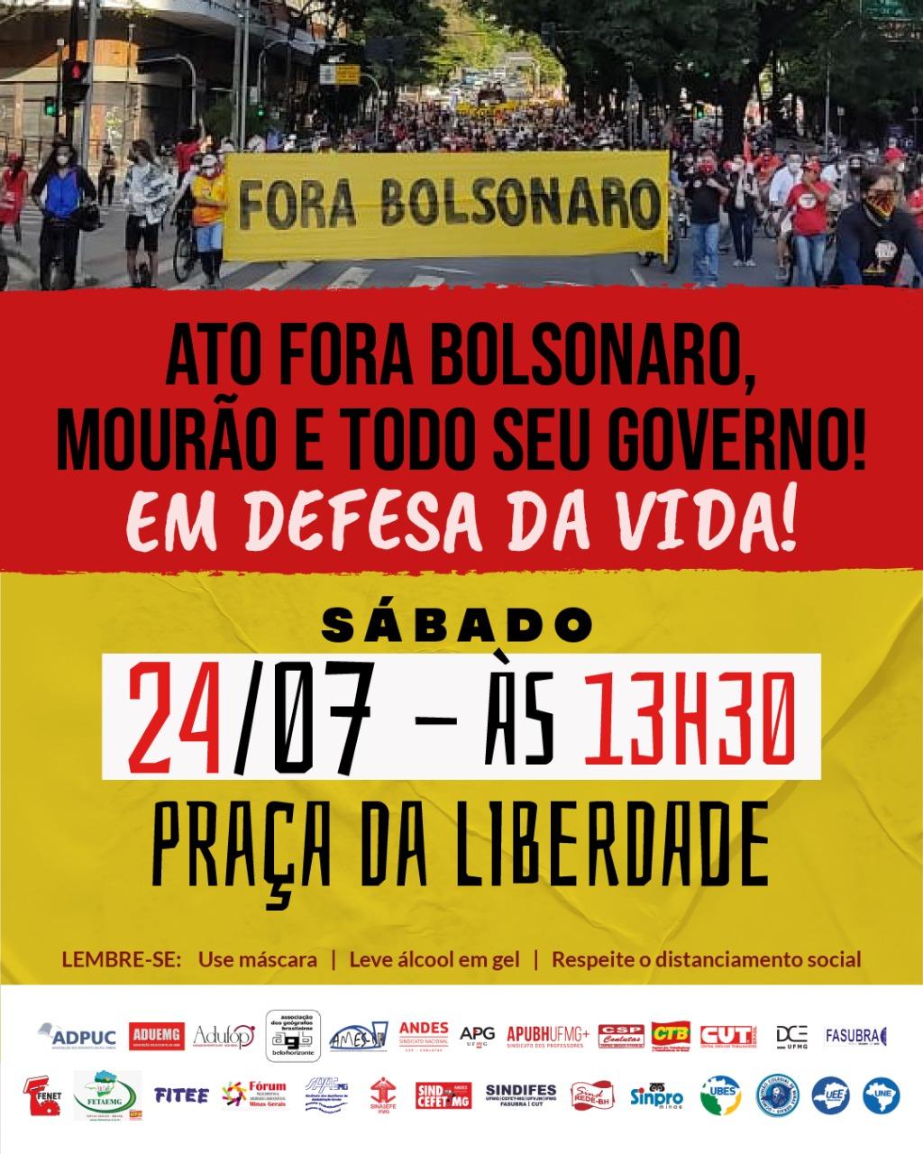 SINDIFES convoca Categoria para ato pelo Fora Bolsonaro, neste sábado, 24, às 13h30, na Praça da Liberdade em Belo Horizonte 3