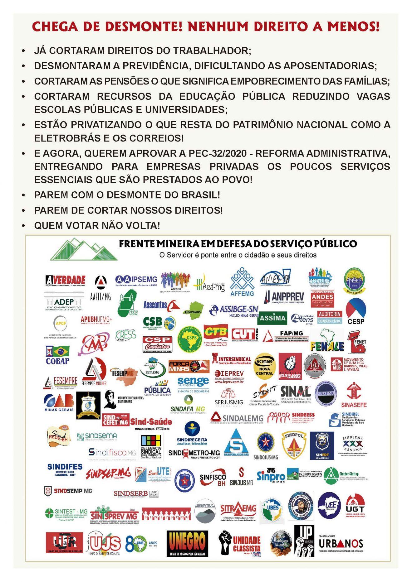 Manifesto da Frente Mineira em Defesa do Serviço Público contra a PEC 32/2020 - Reforma Administrativa 6
